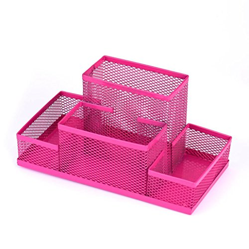 Pen Holder,Ankola New Metal Mesh Desk Stationery Storage Organizer Box Home Office Pen Pencils Holder (Hot Pink)