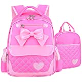 EURO SKY Children School Backpack Bags for Girls Students PU Leather Y-Pink L