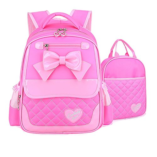 EURO SKY Children School Backpack Bags for Girls Students PU Leather Y-Pink S