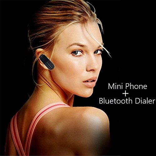 Mini Mobile Cell Phone Bluetooth Dialer Headset Earphone Stereo Support SIM Card 0.66 inch(Black) by R-waceh (Image #4)