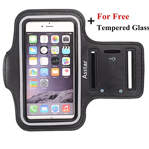 Armband, Asstar [Stand Feature] Premium Running Water Resistant Sports Armband and Fits iPhone 6, 6S,SE, 5, 5S, 5C, Samsung S4, S3, S2, HTC ect with FREE Tempered Glass (Black)