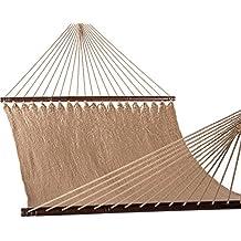 Lazy Daze Hammocks 51inch Double Caribbean Hammock Hand Woven Polyester Rope Outdoor Patio Swing Bed (Tan)