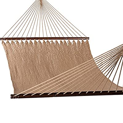 Lazy Daze Hammocks 51inch Double Caribbean Hammock Hand Woven Polyester Rope Outdoor Patio Swing Bed (Tan) - Made with premium quality outdoor ready materials for years of worry free use - great looks and longevity Hand woven from comfy and durable spun polyester ropes and thickness of the end cords by skilled artisans contribute greatly to the balance and strength of the hammock Bed dimensions: 70 x 51 inches (overall length: 126 inches); Support up to 450 pounds; Perfect share with your companion - patio-furniture, patio, hammocks - 51zZL384UyL. SS400  -