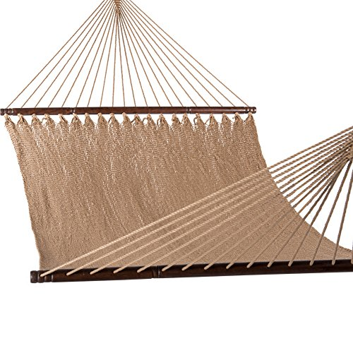 Lazy Daze Hammocks 51inch Double Caribbean Hammock Hand Woven Polyester Rope Outdoor Patio Swing Bed (Tan) ()