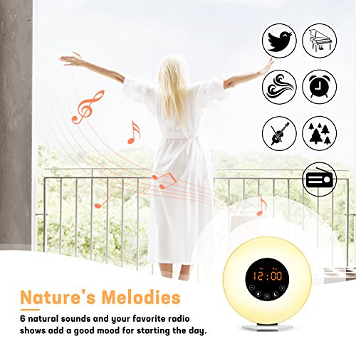 Sunrise Alarm Clock- Wake Up Light LED Clock with Sunrise Simulation and Sunset Fading Night Light-6 Natural Sounds/FM Radio/7 Colors Switch/10 Brightness Levels/Snooze Function for Heavy Sleepers