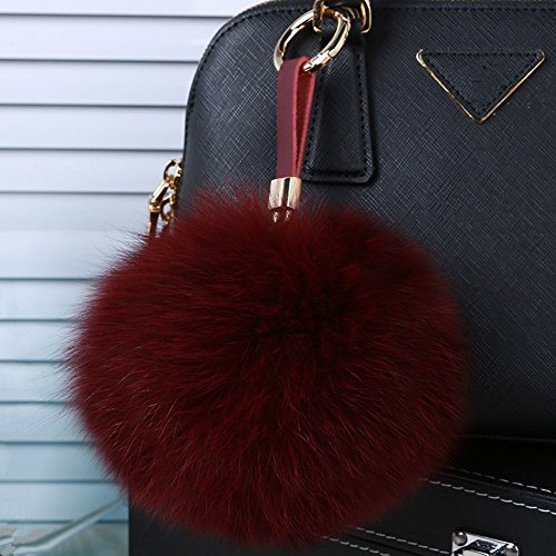 (Roniky Newest Large Genuine Fox Fur Pom Pom Keychain Bag Purse Charm Gold Ring Fluffy Fur Ball (5.9