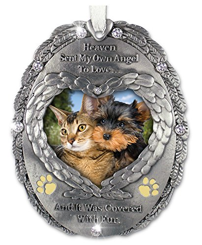 BANBERRY DESIGNS Loving Memory Pet Photo Remembrance Ornament - Embossed with The Saying, Heaven Sent My Own Angel to Love and It was Covered with Fur - Pet Memorial Ornament - Ornament Angel Dog