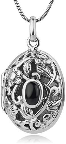 Sterling Silver Vintage Filigree Flower Oval Shaped Locket Black Synthetic Onyx Pendant Necklace 18