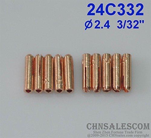 CHNsalescom 10 pcs 24C332 Short Collets for Tig Welding Torch WP-24 WP-24W 2.4mm 3//32