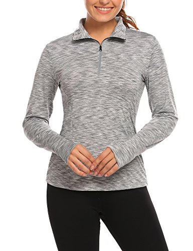 - Tilloe Women's Workout Tee Half-Zip Long Sleeve Fast Dry Running Top with with Thumb Holes