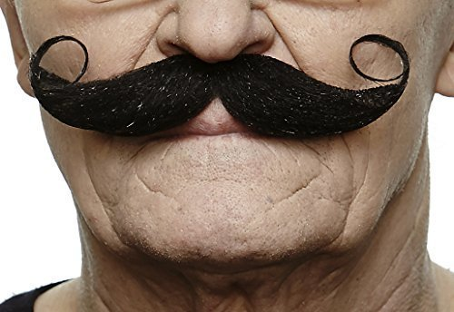 Mustaches Self Adhesive Fake Mustache, Novelty, Maestro False Facial Hair, Costume Accessory for Adults, Black Color]()
