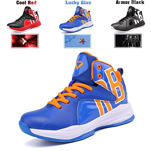 Fashion Basketball Shoes High Top Boys Girls Sneakers Cofortable Running Shoes Non Slip Sport Shoes (Little Kid/Big Kid) Lucky Blue,1M US Little Kid