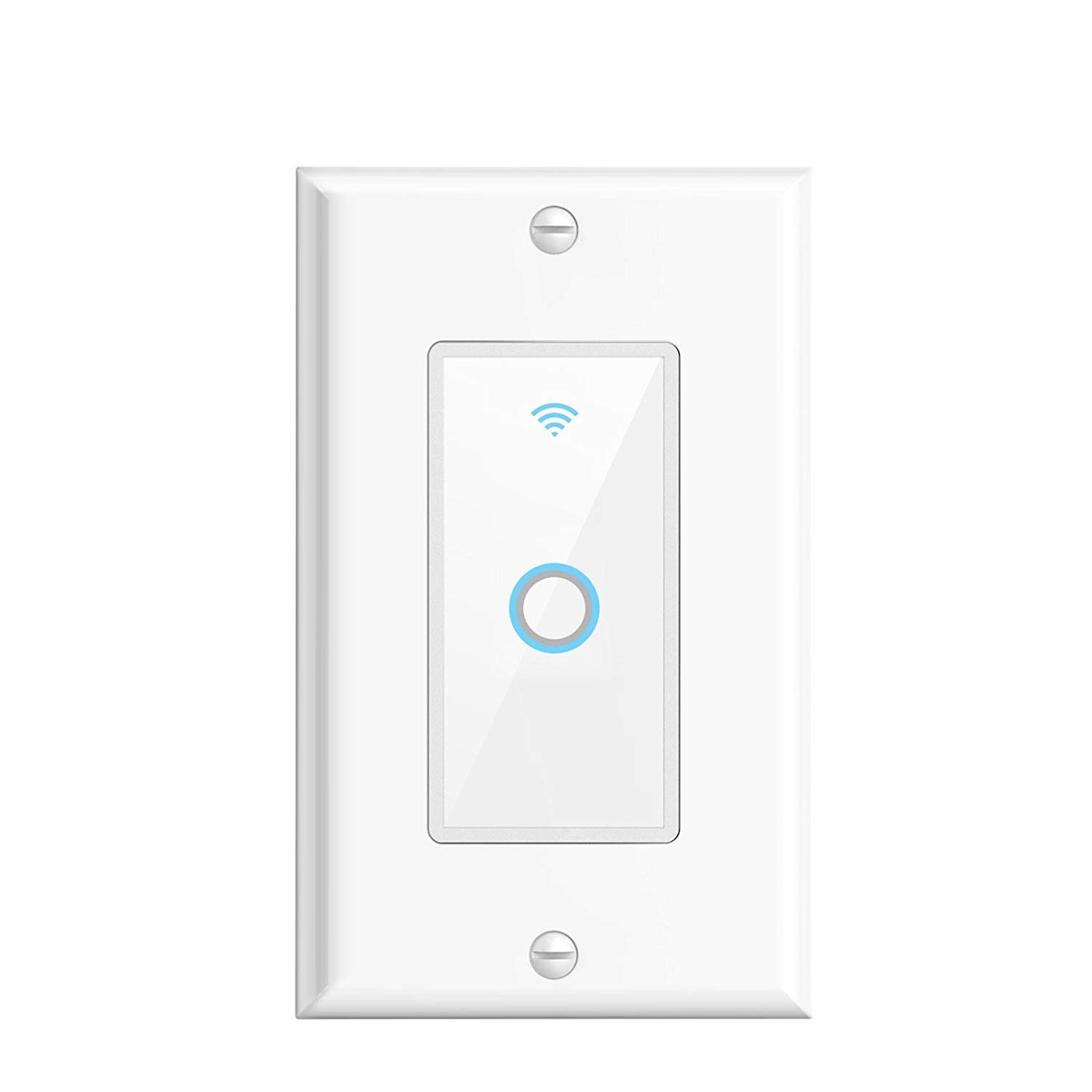Elecstar WIFI Smart Light Switch,In-wall glass mobile phone remote control switch compatible with Alexa and Google Home, control your switch from any distance.