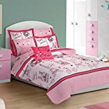 NEW PRETTY COLLECTION FRENCH PARIS KIDS GIRLS REVERSIBLE COMFORTER SET,SHEET SET AND WINDOWS PANELS 12 PCS FULL SIZE