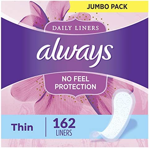 Always Thin Daily Wrapped Liners, Unscented, 162 rely (Pack of one)