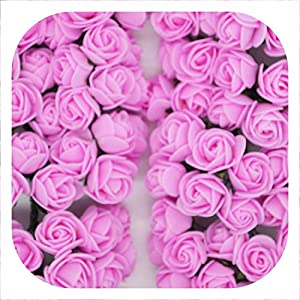 Memoirs- 36/72/144Pcs 2Cm Decorative Teddy Bear Rose Pe Foam Artificial Flower Bouquet for Home Wedding Decoration DIY Wreath Fake Flower,Dark Pink,144Pcs 50