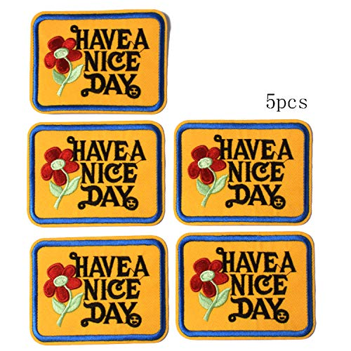 J.CARP Have a Nice Day Patches, Size 2.8 by 3.5 inch, 5PCS