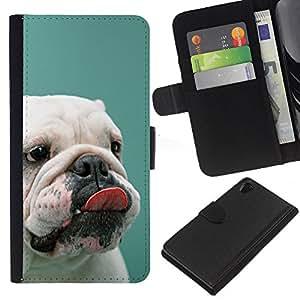English Bulldog Puppy Teal White Dog - la tarjeta de Crédito Slots PU Funda de cuero Monedero caso cubierta de piel Sony Xperia Z2 D6502