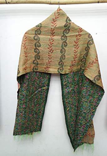 (Silk Kantha Scarf Neck Wrap Stole Dupatta Hand Quilted Women Bandanas headband)