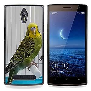 Parrot Green Yellow Cage Sad Bird Beak Caja protectora de pl??stico duro Dise?¡Àado King Case For Oppo Find 7 X9007