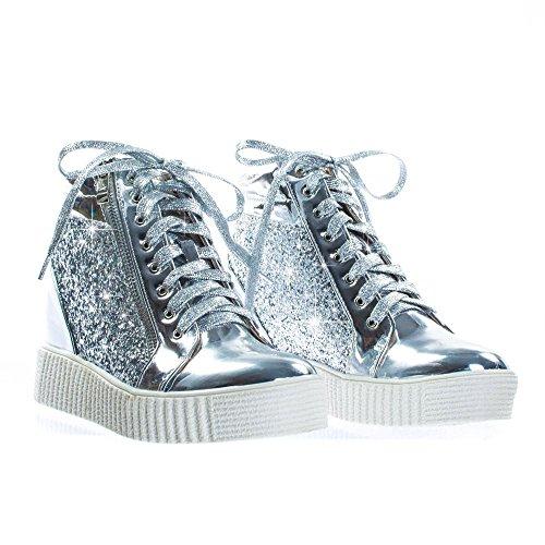 Donne Moda Leggera Glitter Glitter Similpelle Metallizzata Trapuntata Allacciata Scarpa Stringata Bassa Sneaker Elegante (8.5, Argento-14)