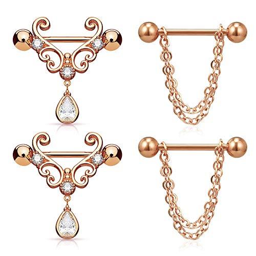 MODRSA Nipple Rings Heart Nipple Piercings Women 14G Surgical Steel Chain Dangle Nipple Barbell Piercing with Tear Drop CZ Arrow 3/4