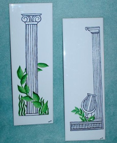 Set of 2 Hand-painted Greek Themed Ceramic Tiles
