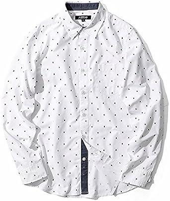 VB Hombres Camiseta de Manga Larga de algodón Puro Cardigan Oxford Manchas Textil, Blanca, XXXL: Amazon.es: Ropa y accesorios