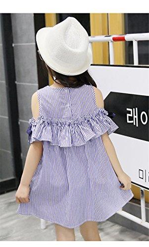 FTSUCQ Girls Off Shoulder Striped Print Dress (130(7-8Y), Blue) by Dillian Dress (Image #5)