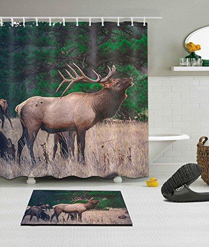 LB Custom Elk Shower Curtain StallScene Grassland Nature Scenery 3D Digital Printing Polyester