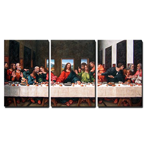 """Wall26 - 3 Piece Canvas Wall Art - the Last Supper by Andrea Solari Giclee - Modern Home Decor Stretched and Framed Ready to Hang - 16""""x24""""x3 Panels"""