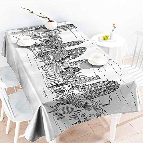 Washable Table Cloth New York Hand Drawn NYC Cityscape Tourism Travel Industrial Center Town Modern City Design Black White Party W54 -
