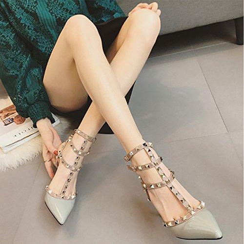 Solo Fina Gray Vivioo Nocturnos Hebilla Shoesspring Sandalias Con Mujer Zapatos Alto De Clubes 6cm Tacón Tacones w7vwFqa
