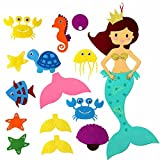 #7: Amajoy Pin the Tail on the Mermaid Party Supplier with Felt Detachable Ornaments Kids Party Games DIY Kids Toy Home Decoration Birthday Party Decor
