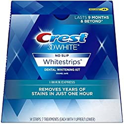 Crest 3D White 1 Hour Express Whitestrips Dental Teeth Whitening Strips Kit, 7 Treatments - Lasts 9 Months & Beyond