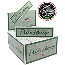 6 Pure Hemp King Size Tree Free Eco 100% Hemp Natural Gum Cigarette Rolling Papers Packs (33 Leaves/Pack) + Beamer Smoke Sticker. For Legal Smoking Herbs, Rolling Tobacco, Cones, Herbal Mixes,Rollers