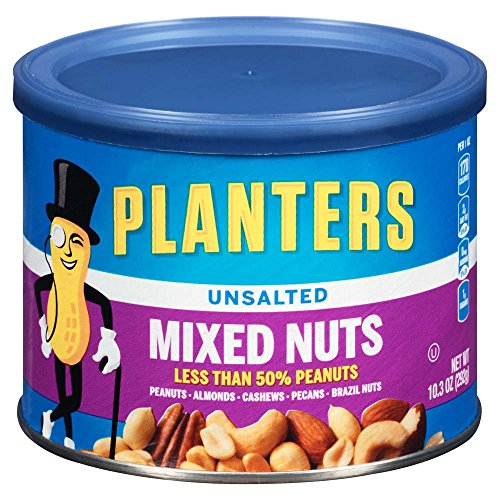 Planters Mixed Nuts, Unsalted, 10.3 Ounce Canister (Pack of 4)