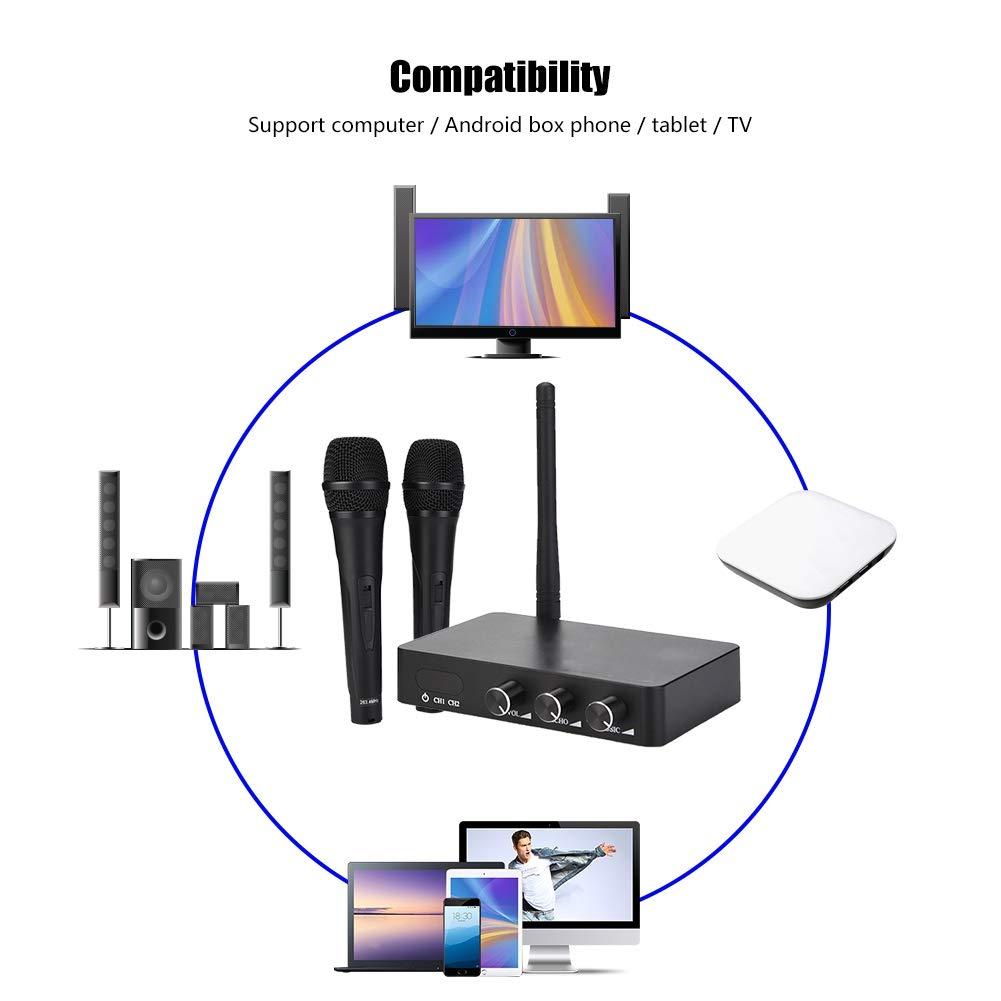 ASHATA Handheld Wireless Karaoke, Handheld Mini Home KTV Wireless WiFi Karaoke Machine with Two Microphone,Stereo Surrounding Sound Karaoke Machine for Home KTV by ASHATA (Image #4)