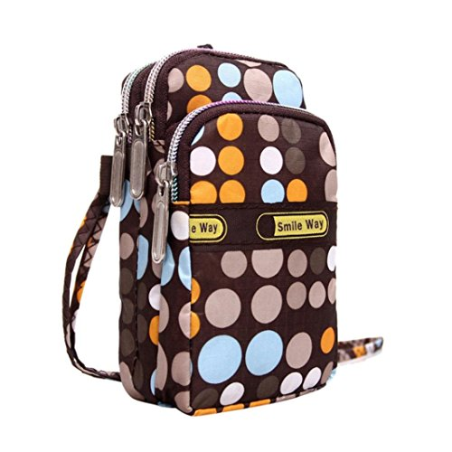 (Kimloog Cellphone Pouch Floral Print Wristlet Purse Mini Shoulder Crossbody Bag Handbags (G))