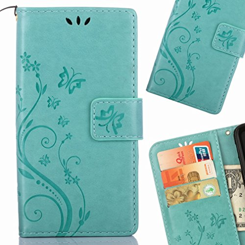 Yiizy Huawei P8 Lite (2017) / Honor 8 Lite Custodia Cover, Erba Fiore Design Premium PU Leather Slim Flip Wallet Cover Bumper Protective Shell Pouch with Media Kickstand Card Slots (Verde)