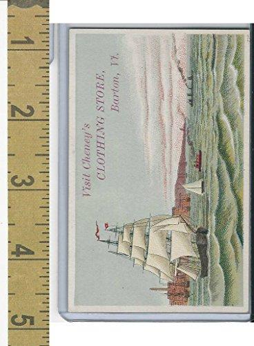 Victorian Card, 1890's, Cheney Clothing Store, Barton, VT, Nautical, Ship - Barton Store