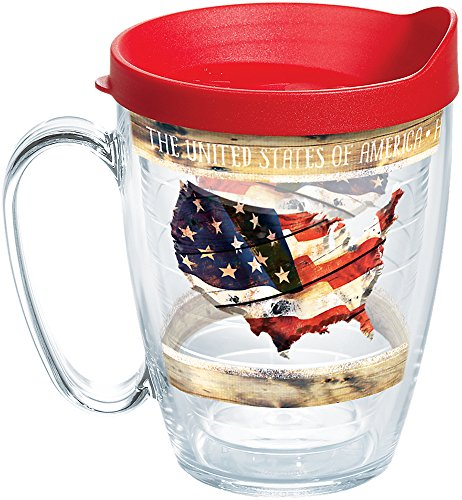 Tervis 1260765 Woodgrain American Flag Insulated Tumbler with Wrap and Red Lid, 16 oz Mug - Tritan, Clear