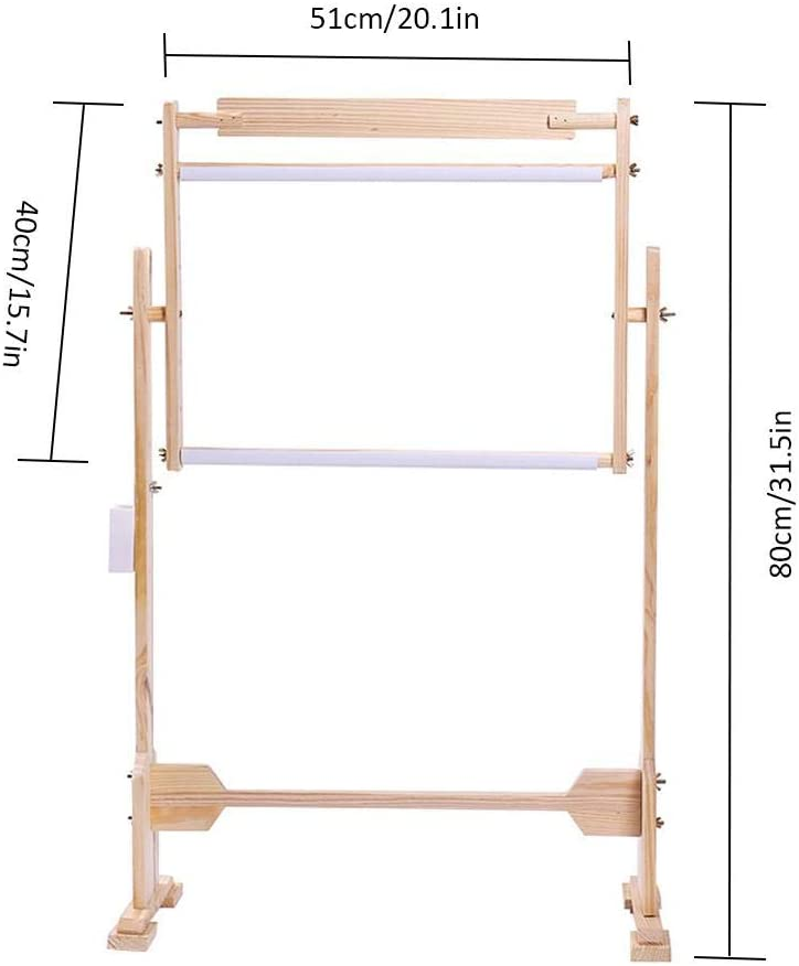 cheerfullus Wooden Cross Stitch Floor Stand,31 inch Adjustable Embroidery Frame Wood Cross Stitch Rack Quilting Frames Tool Kit