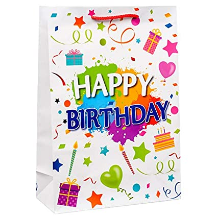 Amazon Dollaritem New 377174 Gift Bag Birthday Large Asst Clr