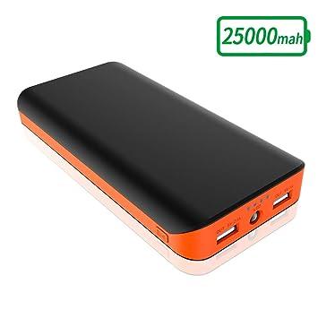 FKANT Batería Externa 25000mAh Power Bank de Alta Capacidad Cargador Móvil Portátil con 2 USB Puertos Linterna LED Batería Portátil para Huawei ...