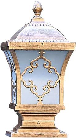 LJIANW-Farolas Jardin Exterior Retro Al Aire Libre Impermeable Lámpara De Tapa LED Impermeable Aluminio Moldeado Lámpara De Columna Luces del Paisaje del Jardín, 3 Tamaños: Amazon.es: Hogar