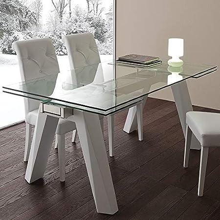 Tavolo Allungabile Moderno Cristallo.M 029 Tavolo Da Pranzo Estensibile In Vetro E Acciaio Design