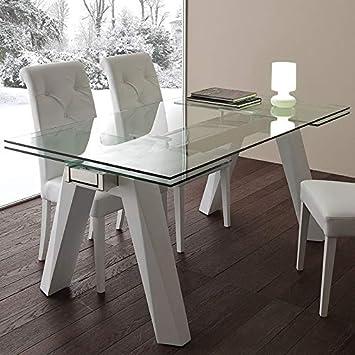 M 029 Mesa De Comedor Extensible Cristal Y Acero Design Carla