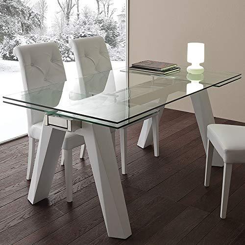 M-029 - Mesa de comedor extensible de cristal y acero, diseno Carla
