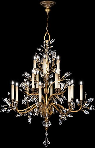 Chandelier Gold Crystal Laurel (Fine Art Lamps 773740, Crystal Laurel Crystal 3 Tier Chandelier Lighting, 16 Light, 960 Watts, Gold)